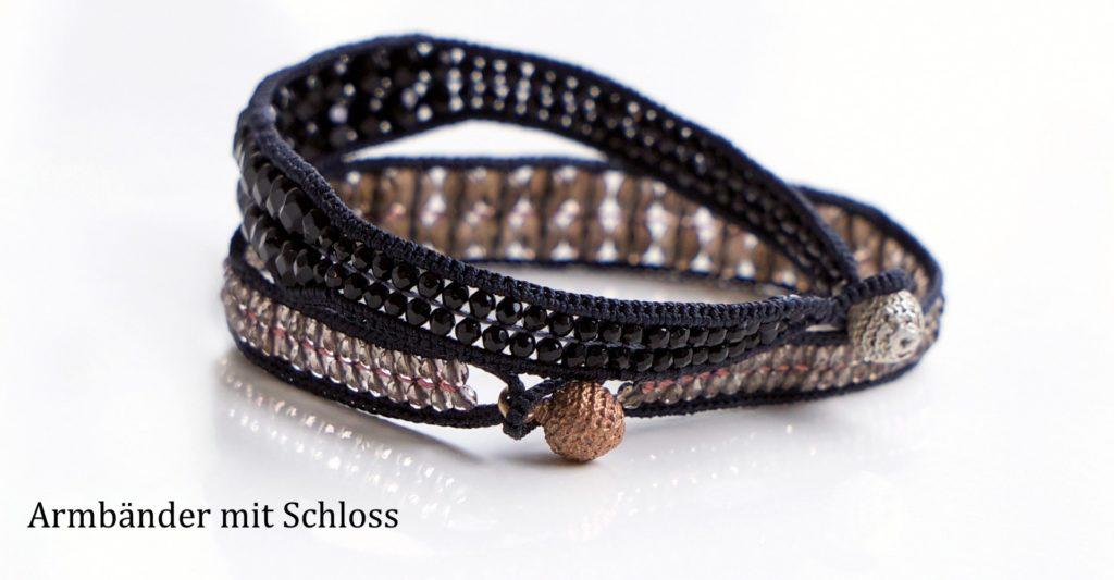Zweireihige Armbänder aus Seide, Onyx und Rauchquarz mit gegossenem Schloss aus Bronze und Silber, Halbedelstein