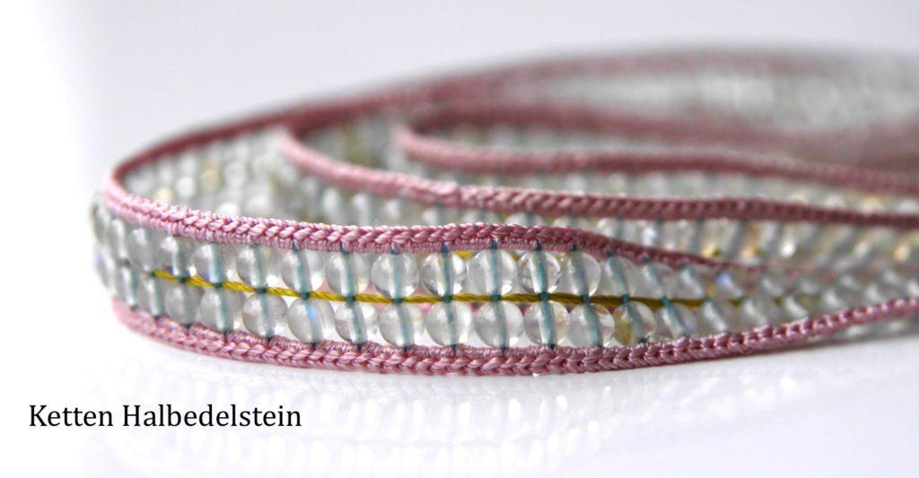 Zweireihige Mondsteinkette Rosa, Haledelstein, Seide