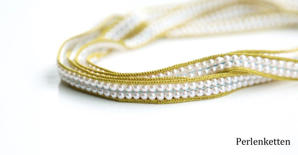 Zweireihige Perlenkette Gelbgrün Senf