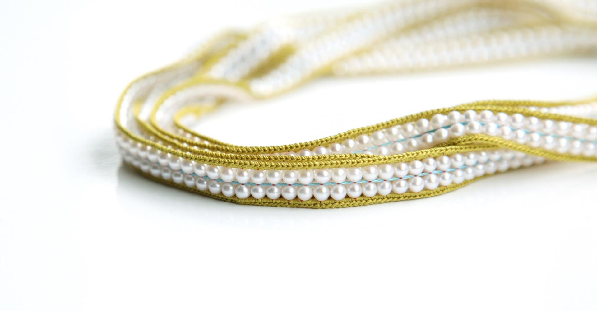 Zweireihige Perlenkette Gelb Senf
